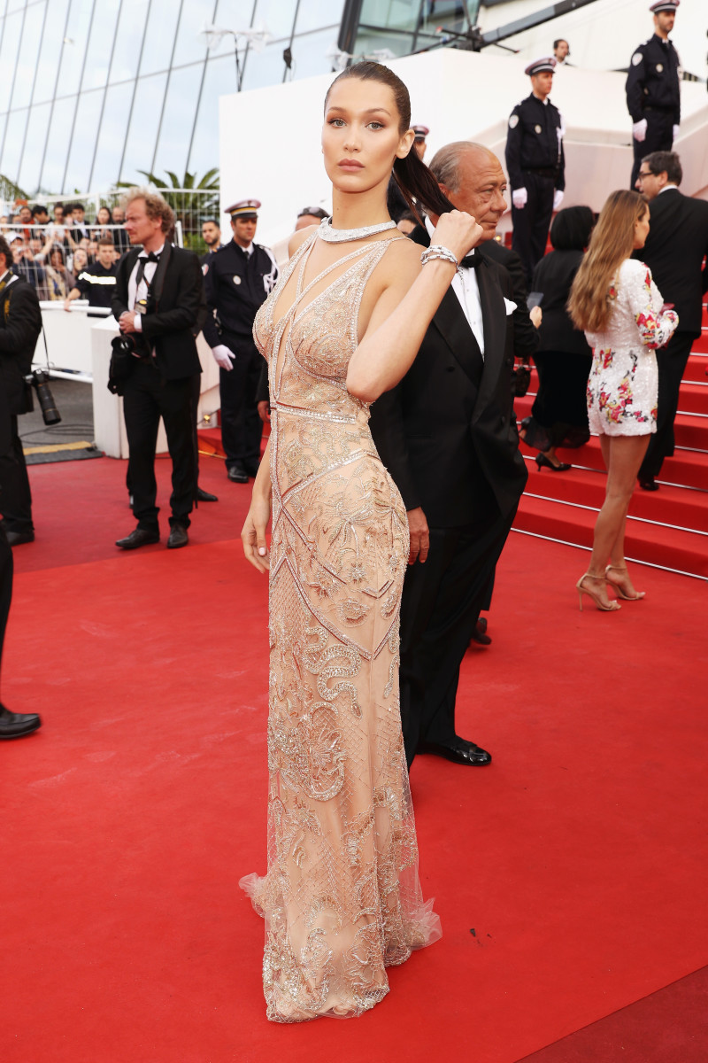Bella Hadid in Roberto Cavalli by Peter Dundas at Cannes. Photo: Andreas Rentz/Getty Images