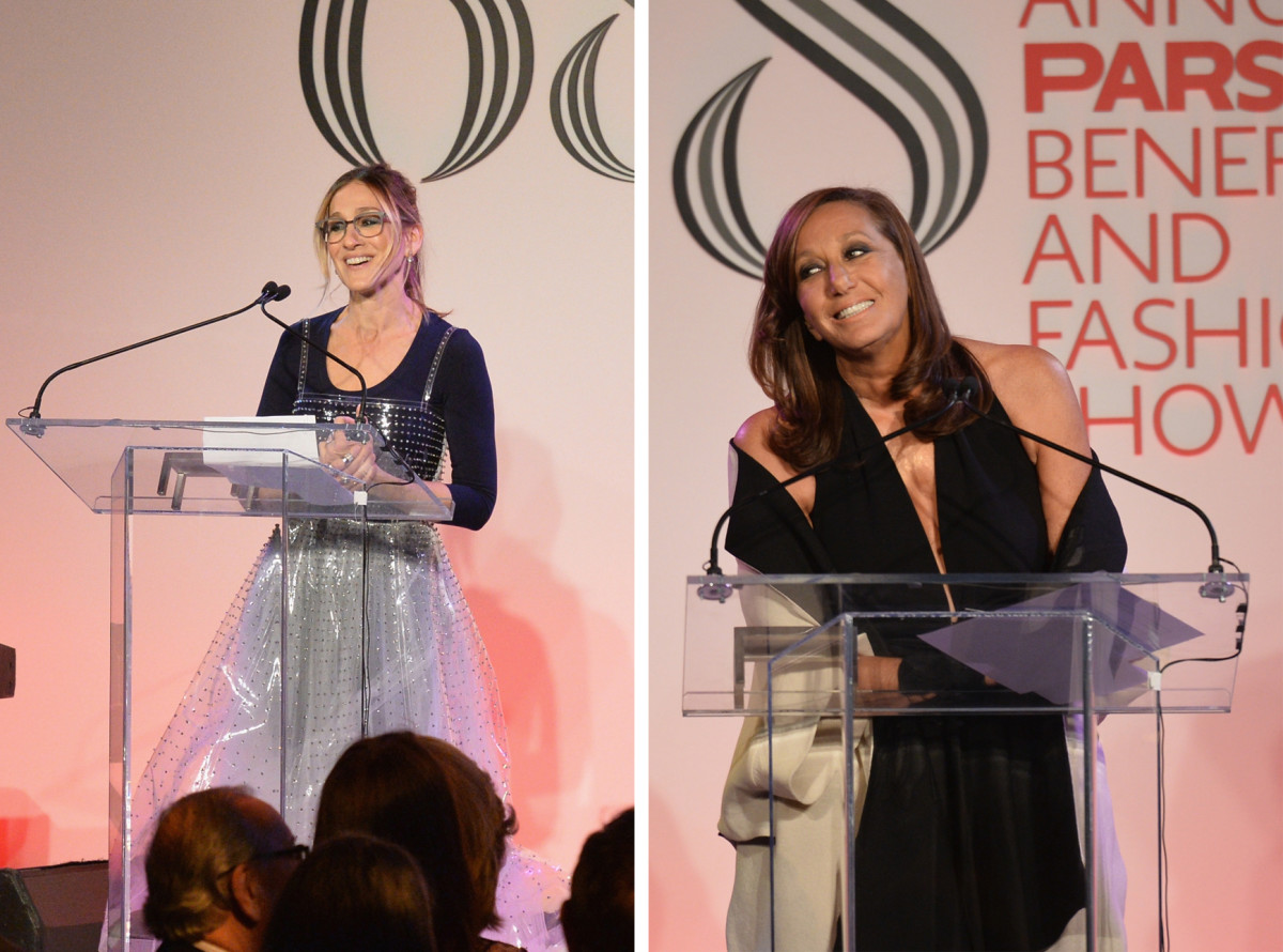 Sarah Jessica Parker and Donna Karan on stage at the 2016 Parsons Benefit. Photo: Andrew Toth/Getty Images