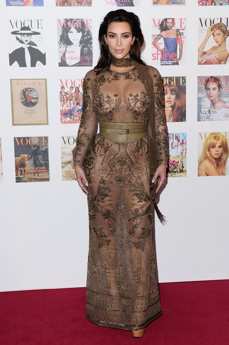 Kim Kardashian in Roberto Cavalli. Photo: Jeff Spicer/Getty Images