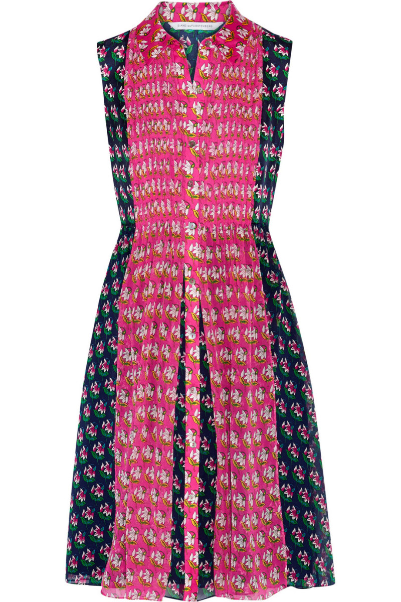 Diane von Furstenberg Nieves printed faille and chiffon dress, $500, available at Net-a-Porter.