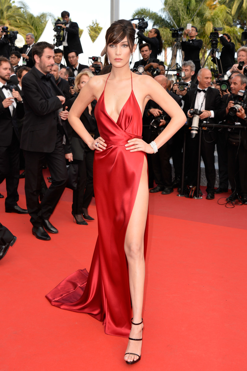 Bella Hadid in a custom Alexandre Vauthier gown. Photo: Pascal Le Segretain/Getty Images