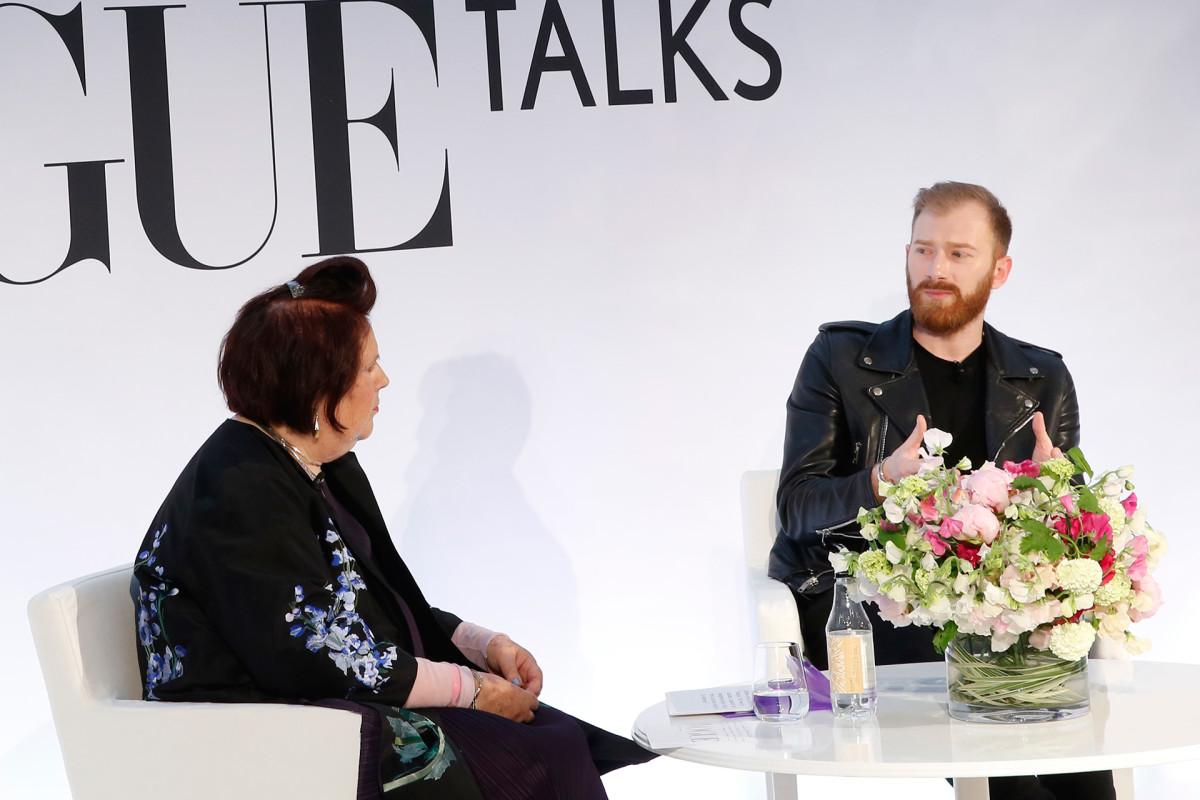 Suzy Menkes and Guram Gvasalia. Photo: Darren Gerrish/Vogue UK