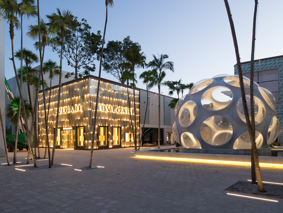 "Bulgari and Buckminster Fuller's ""Fly's Eye Dome"" in the Design District. Photo: Dacra"