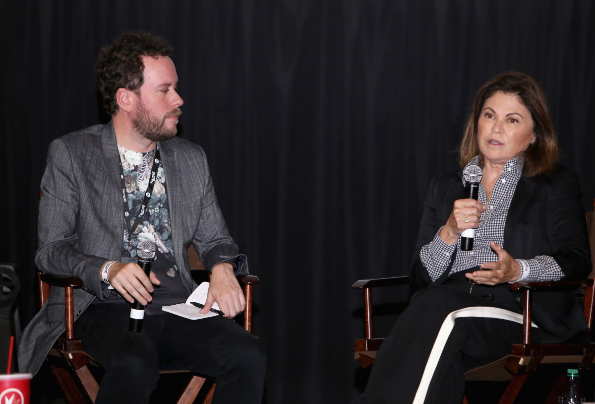 Vulture's Kyle Buchanan and Colleen Atwood at the Vulture Festival. Photo: Getty Images