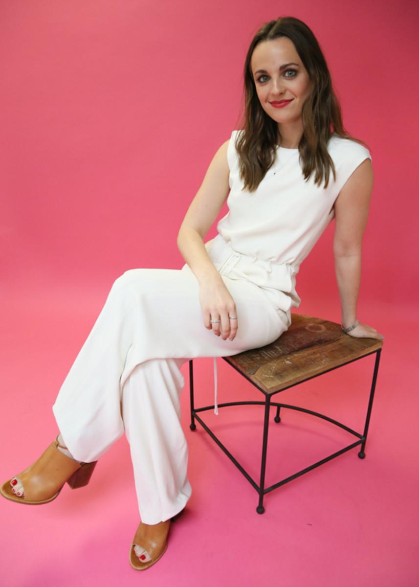 Maura wears Maiyet's Drawstring Waist Jumpsuit in Cream. Photo: Nina Frazier Hansen/Fashionista
