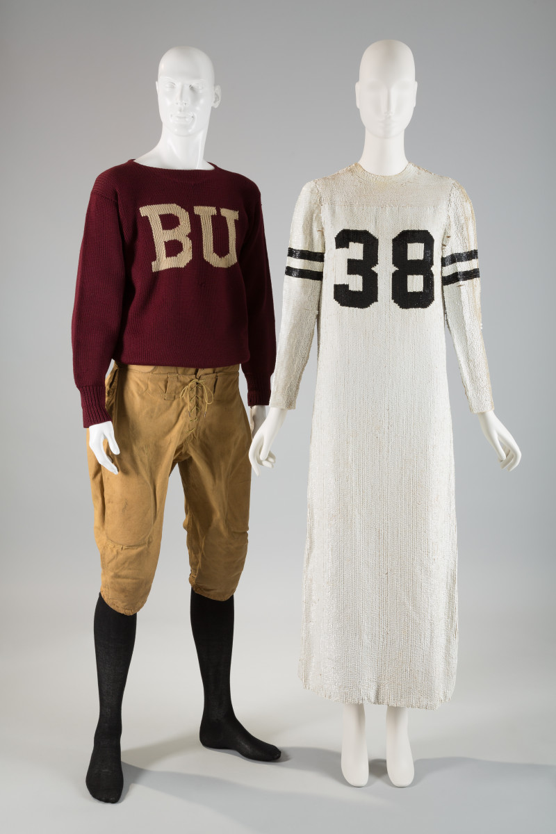 "Left: Football uniform, circa 1920, wool and cotton duck, USA, museum purchase. Right: Geoffrey Beene, ""football jersey"" dress, fall 1967, silk and sequins, USA, museum purchase. Photo: The Museum at FIT"