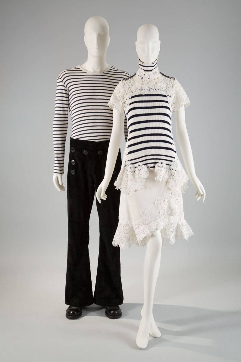 Left: Jean Paul Gaultier, ensemble, circa 1992, cotton, France, gift of Antoine Bucher and Michael Harrell. Right: Sacai, ensemble, Spring 2015, cotton, silk, synthetic, Japan, museum purchase. Photo: The Museum at FIT