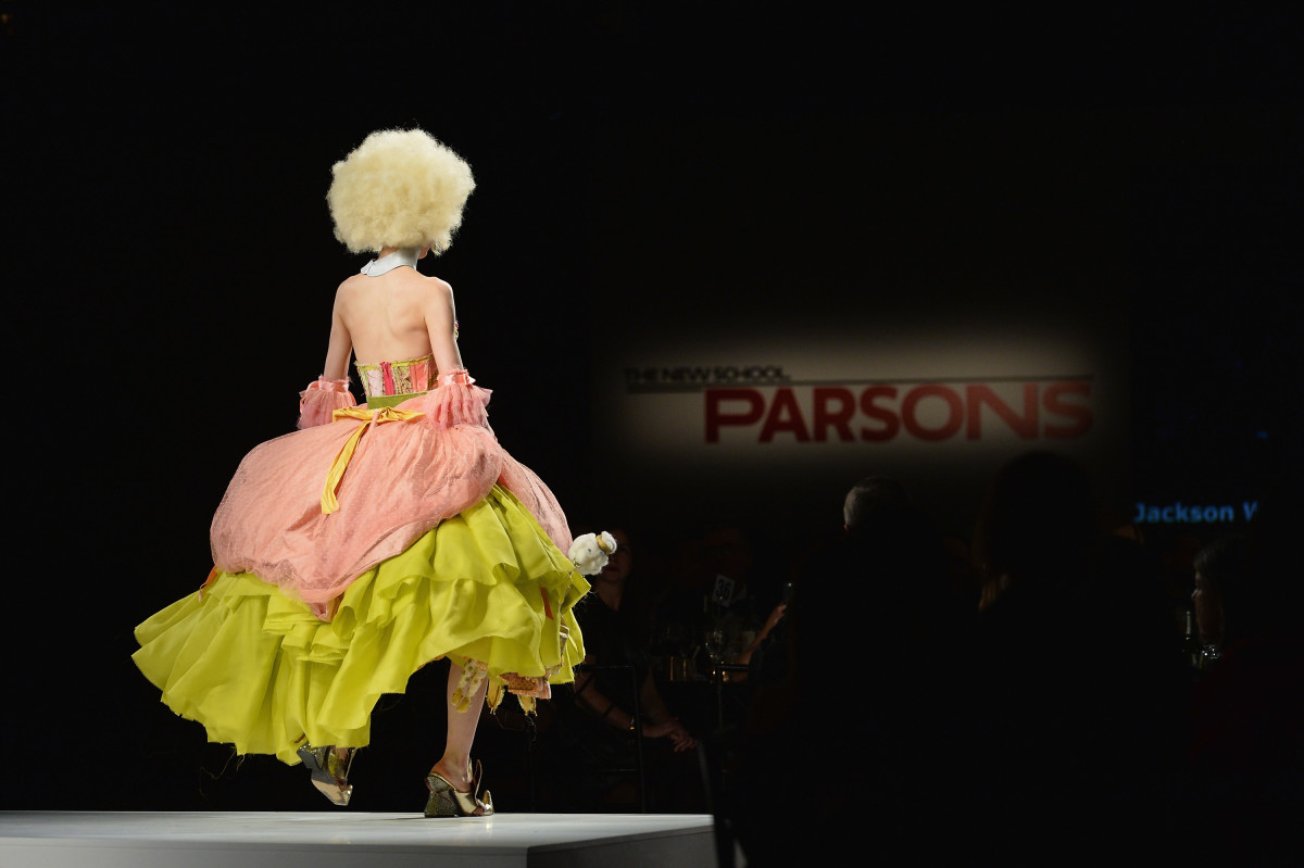 A model wearing Womenswear Designer of the Year Jackson Wiederhoeft at the 2016 Parsons Benefit at Chelsea Piers in May. Photo: Andrew Toth/Getty Images for Parsons School of Design/The New School