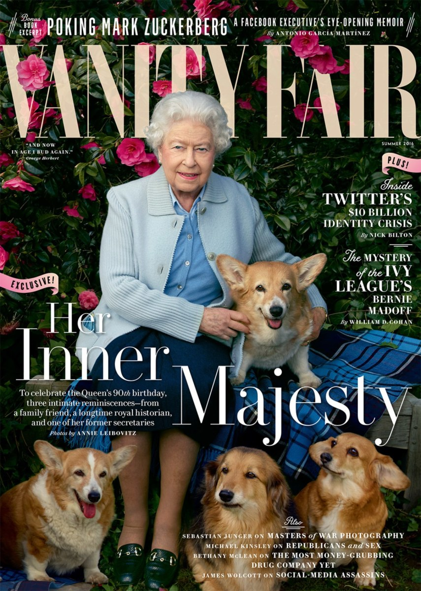Queen Elizabeth II holding Holly and, from left, Willow, Vulcan and Candy. Photo: Annie Leibovitz