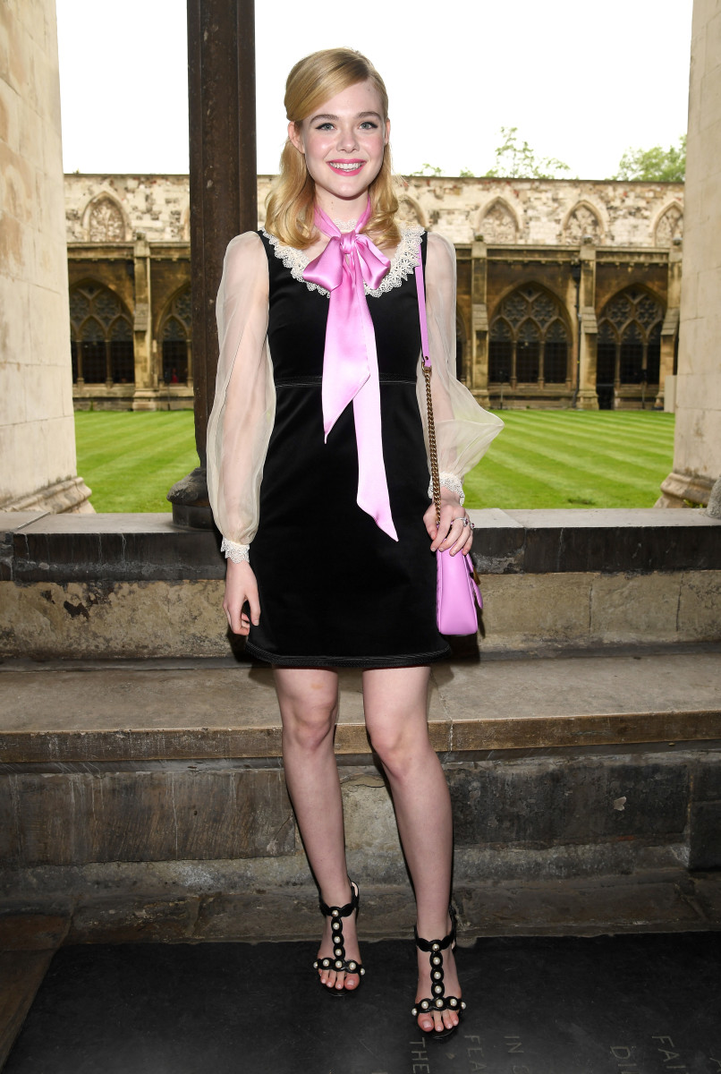 Elle Fanning at the Gucci cruise 2017 show in London on Thursday. Photo: Venturelli/Getty Images