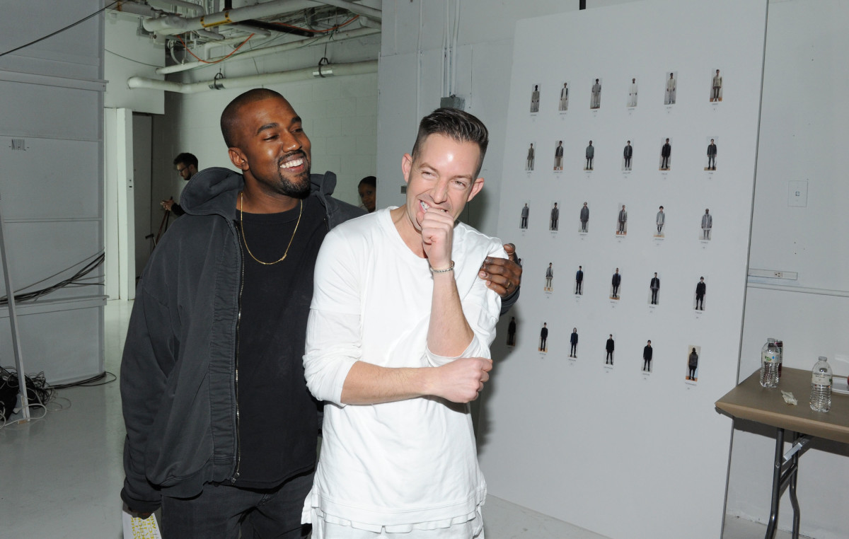 Kanye West with the designer backstage at his first show. Photo: Craig Barritt/Getty Images
