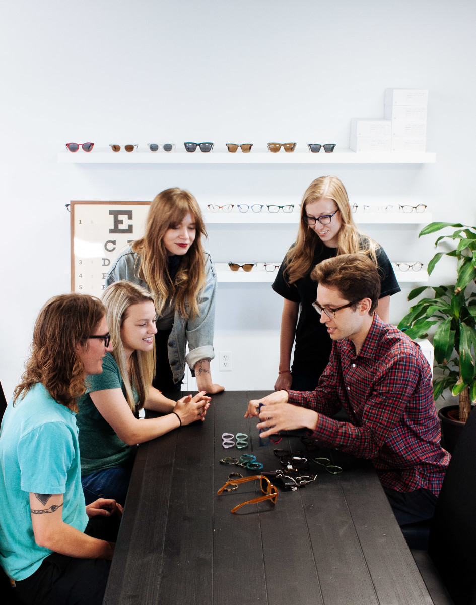 The Article One team in their office in the historical Dryden Building. From left to right: Cole Sanseverino (Director of Sales), Jennifer Wenzlick (Account Manager), Maggie Vocos (Creative Director), Emily Zoromski (Operations Associate), Wes Stoody (Founder and CEO) Photo: courtesy