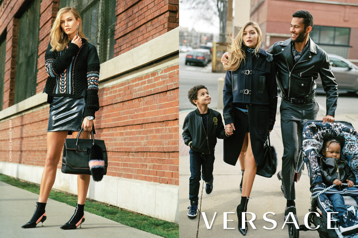 Karlie Kloss and Gigi Hadid star in Versace's ad campaign. Photo: Bruce Weber for Versace