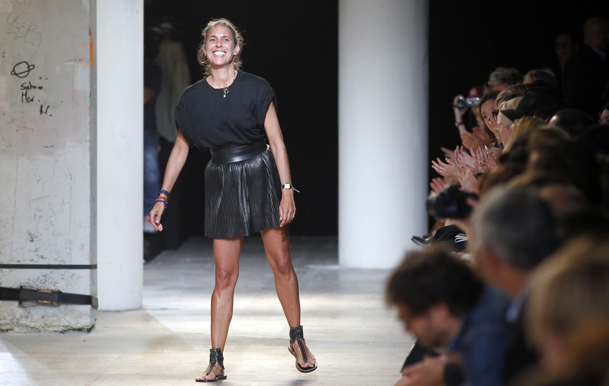 Designer Isabel Marant takes a bow at Paris Fashion Week. Photo: Thierry Chesnot/Getty Images