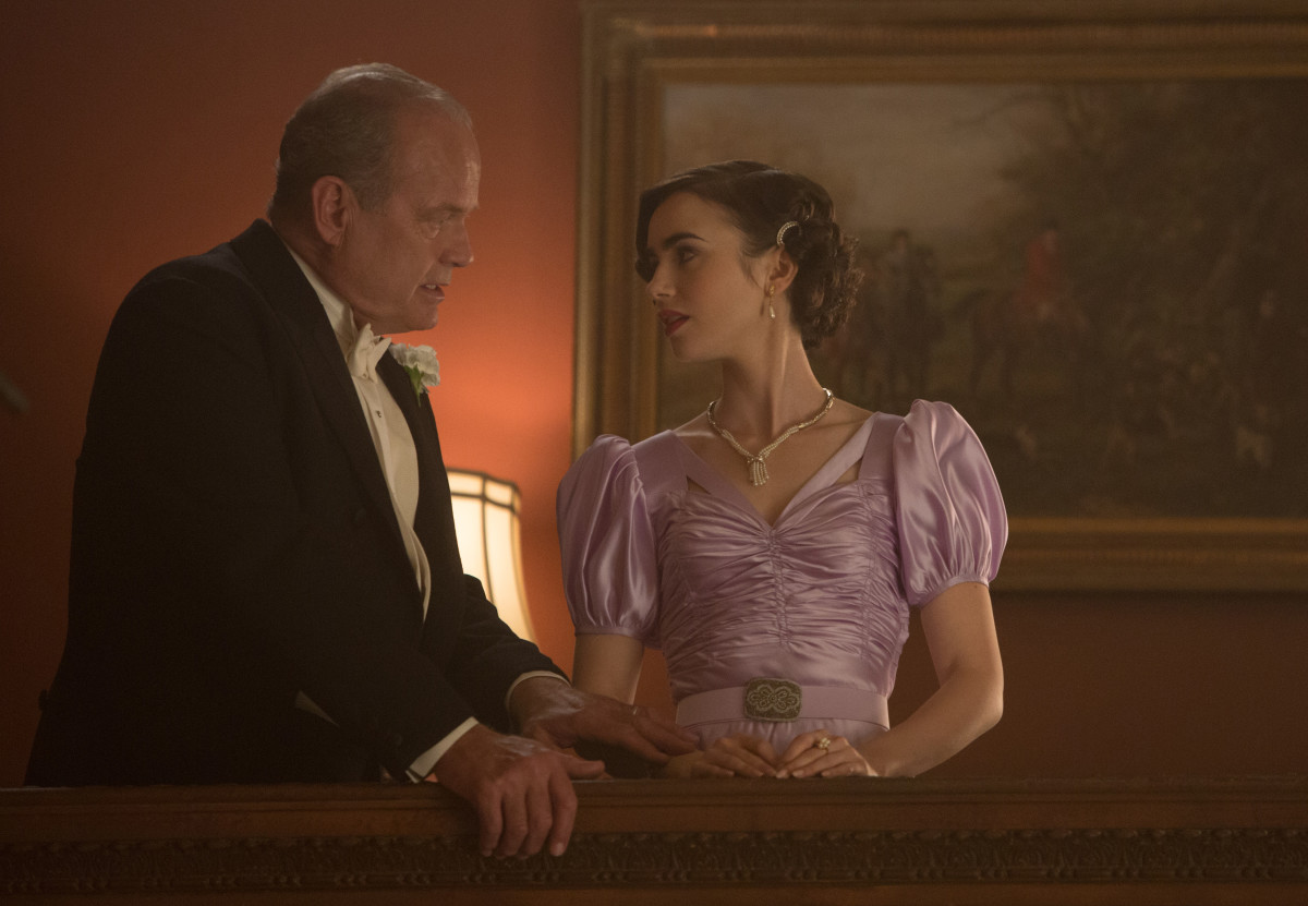 Kelsey Grammar as Pat Brady and Lily Collins as Celia Brady. Photo: Sony Pictures Television/Amazon, Photo Credit: Adam Rose