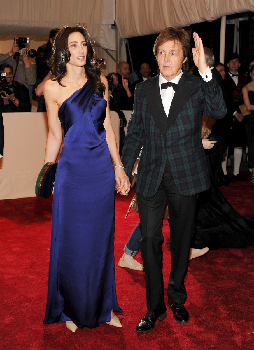 Paul McCartney, with Nancy Shevell, wore a suit designed by his daughter to the Met Gala in 2011. Photo: Larry Busacca/Getty Images