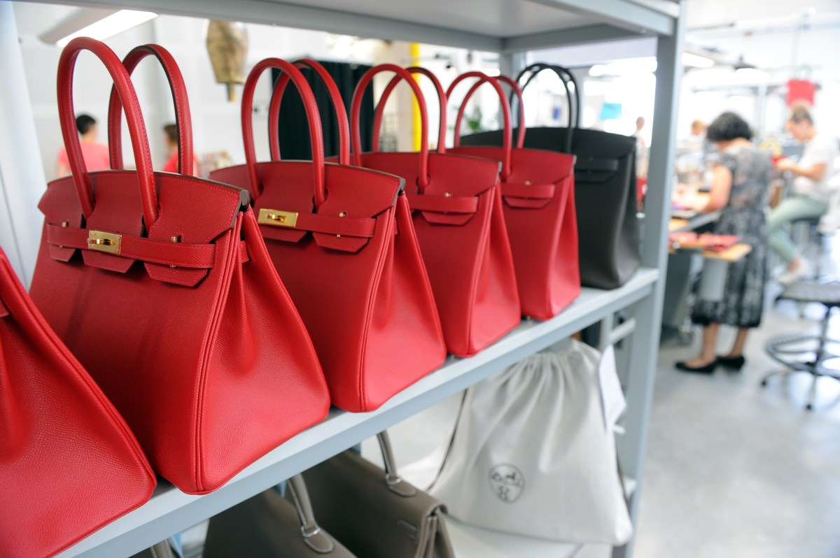 Hermès Birkin bags in a French workshop. Photo: Mehdi Fedouach//AFP/Getty Images
