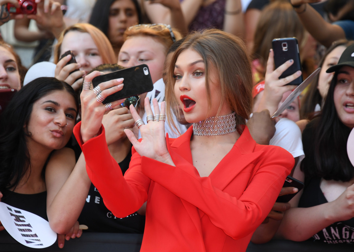 Which Snapchat filter do we think she's using? Photo: Getty Images