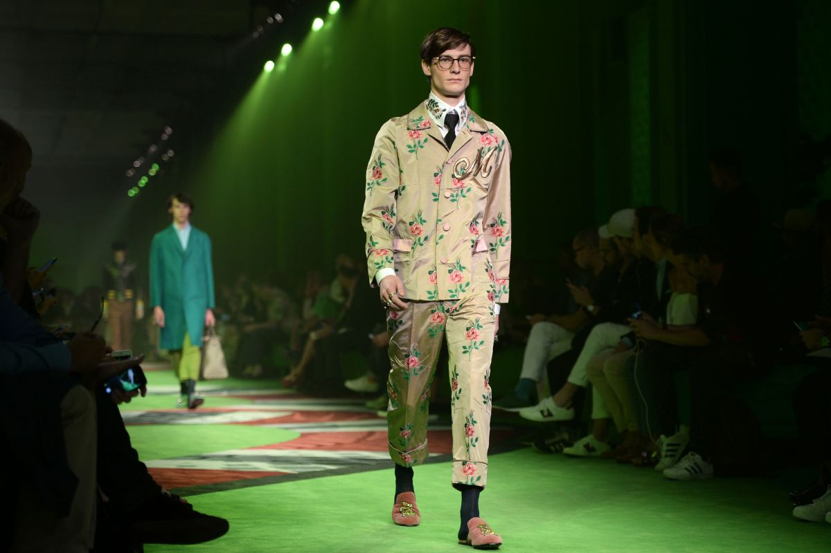 A look from the Gucci men's spring 2017 collection. Photo: Filippo Monteforte/AFP/Getty Images