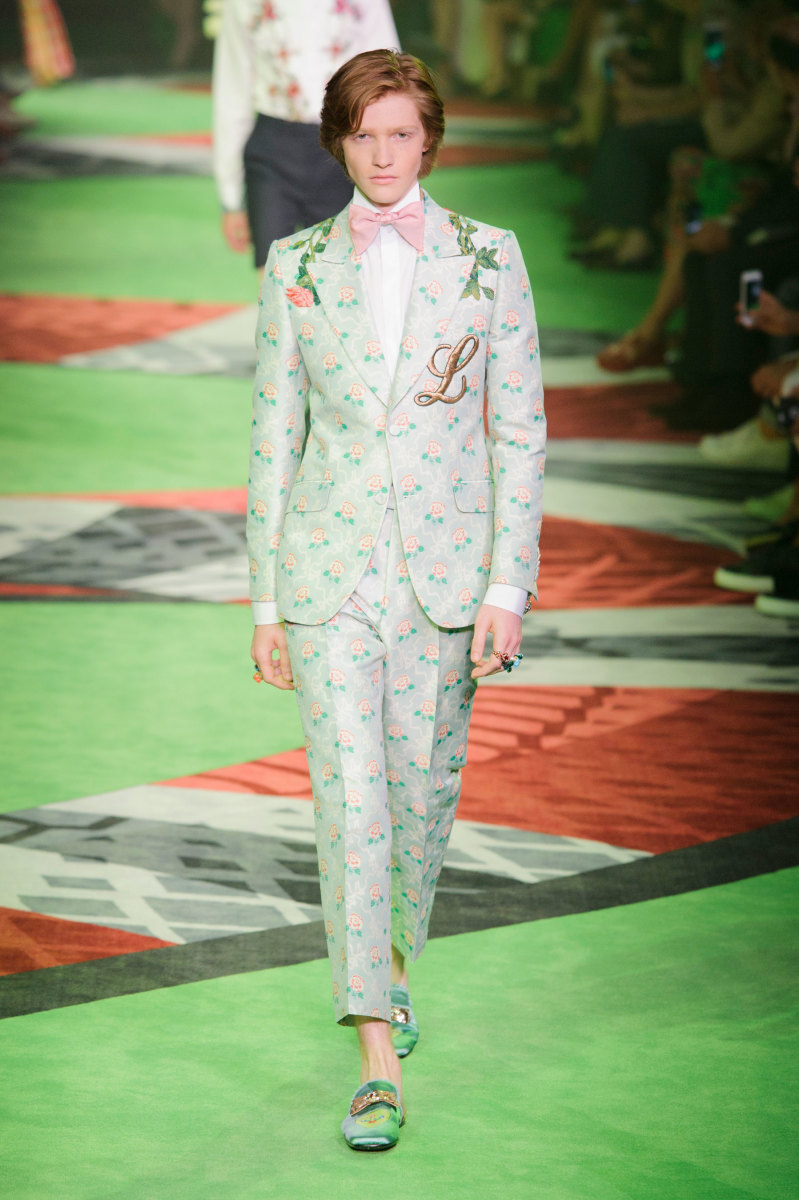 A look from the Gucci men's spring 2017 collection. Photo: Imaxtree