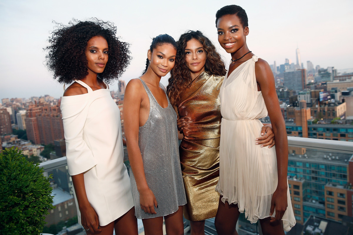 From left: Grace Mahary, Chanel Iman, Heidy de la Rosa and Maria Borges in New York City. Photo: Brian Ach/Getty Images