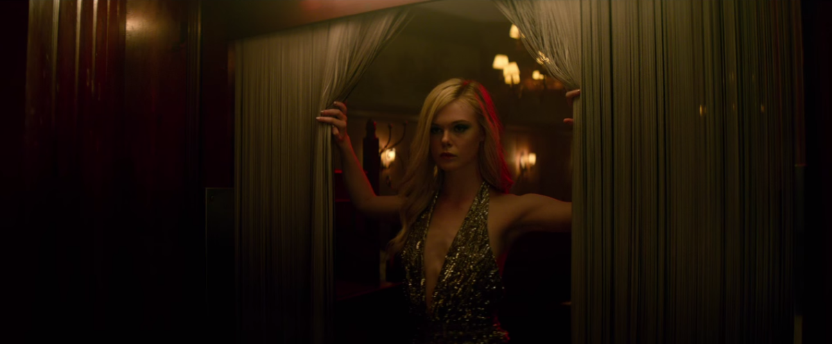 "Elle Fanning's Jesse wears a Saint Laurent spring 2015 top in ""The Neon Demon."" Screengrab: YouTube"