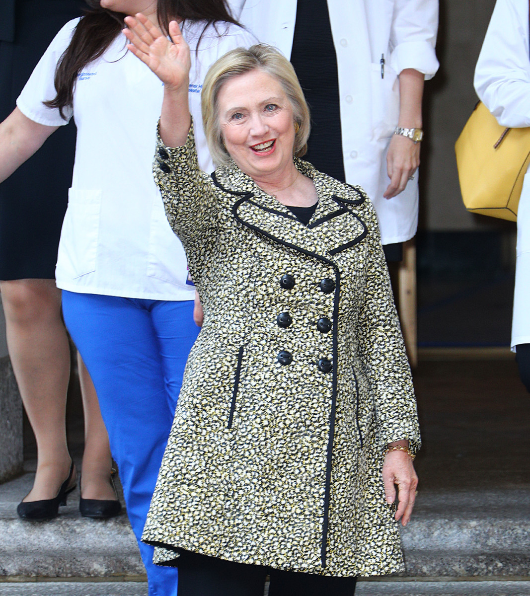 Hillary Clinton at Lenox Hill Hospital in New York City. Photo: Getty Images