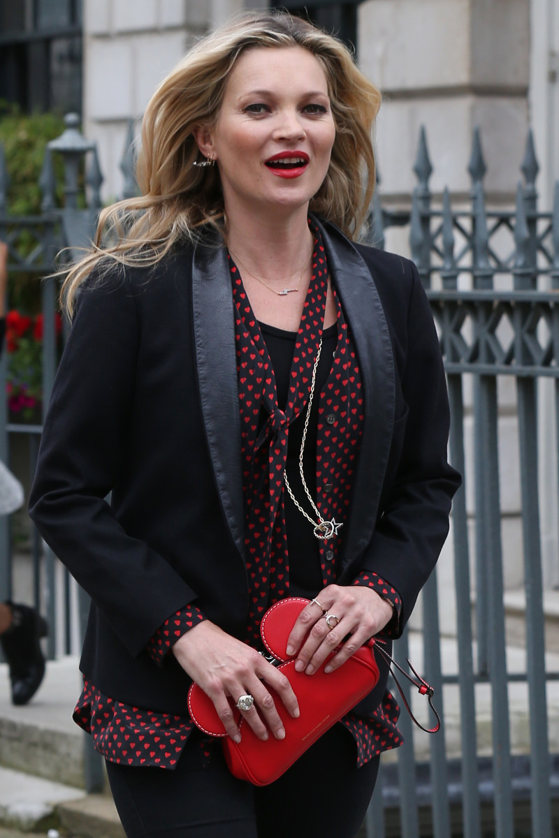 Kate Moss leaving a Rimmel event in London. Photo: Getty Images