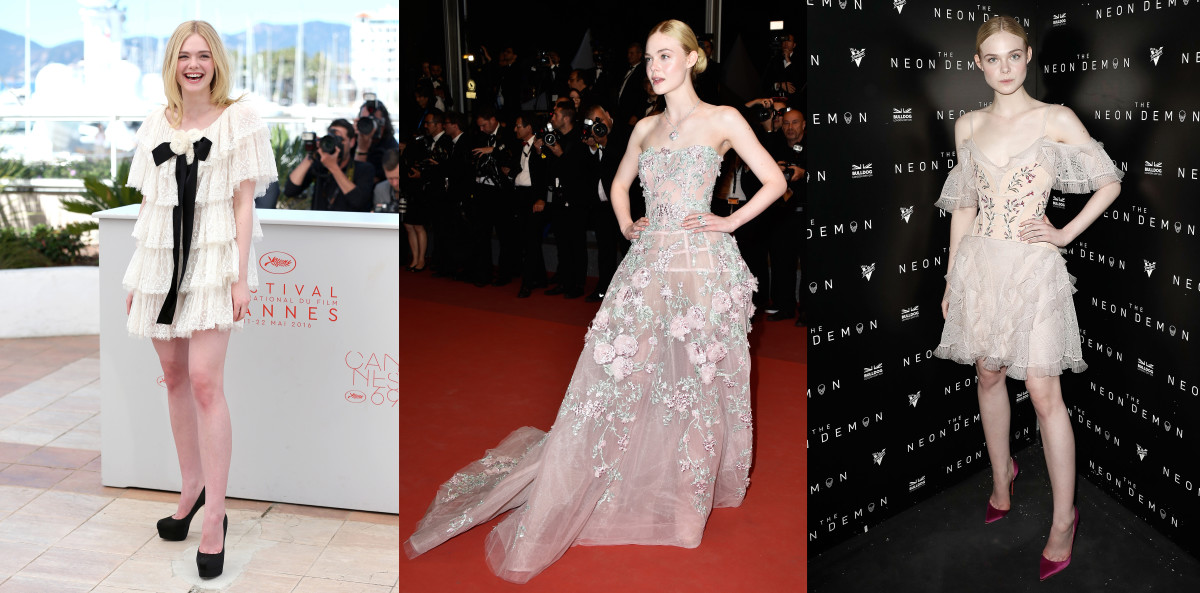Elle Fanning wears Chanel, Zuhair Murad and Alexander McQueen in Cannes. Photos: Getty Images