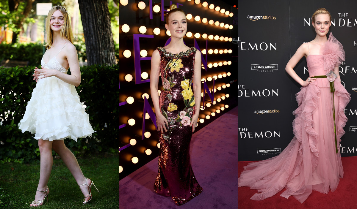 "Elle Fanning wears Giamba, Dolce & Gabbana and Gucci to promote ""The Neon Demon."" Photos: Getty Images"