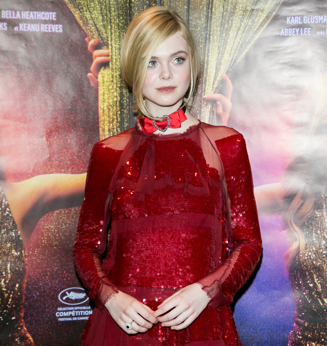 "Elle Fanning wears Lanvin to promote ""The Neon Demon"" in Paris. Photo: Marc Piasecki/Getty Images"