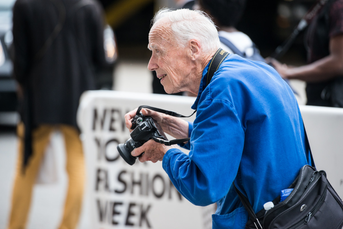 Bill Cunningham outside Skylight Clarkson Sq during New York Fashion Week: Men's in July 2015. Photo: Noam Galai/Getty Images