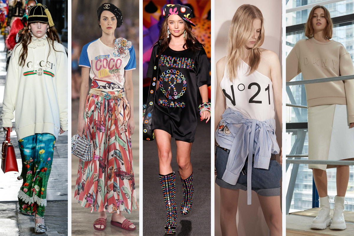 From left to right: Gucci, Chanel, Moschino, No. 21, DKNY