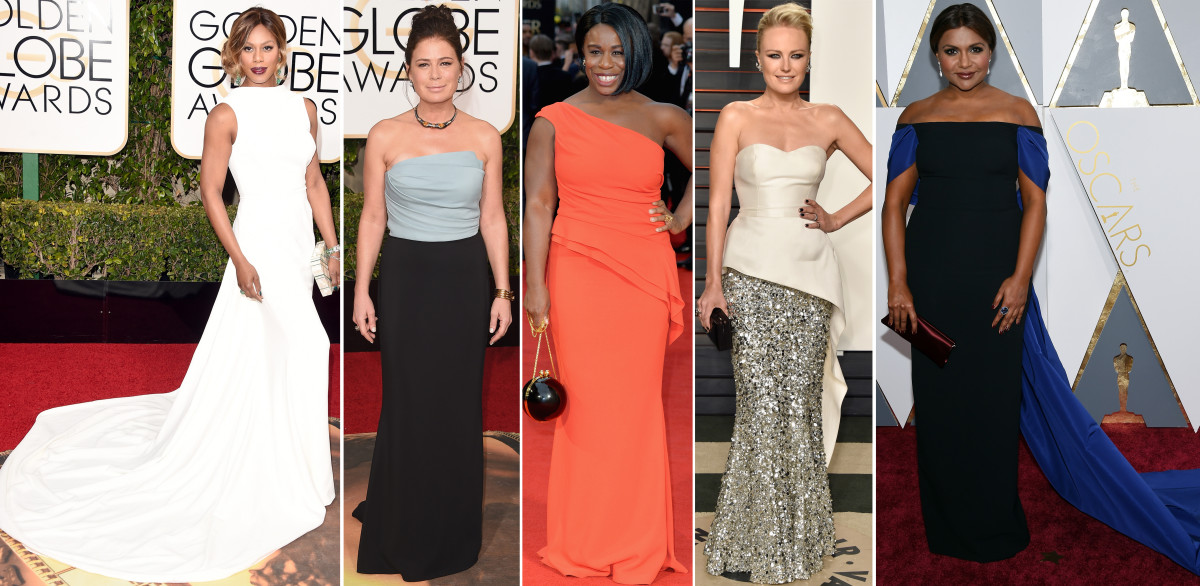 Laverne Cox, Maura Tierney, Uzo Aduba, Malin Akerman and Mindy Kaling in Elizabeth Kennedy on the red carpet. Photo: Getty Images
