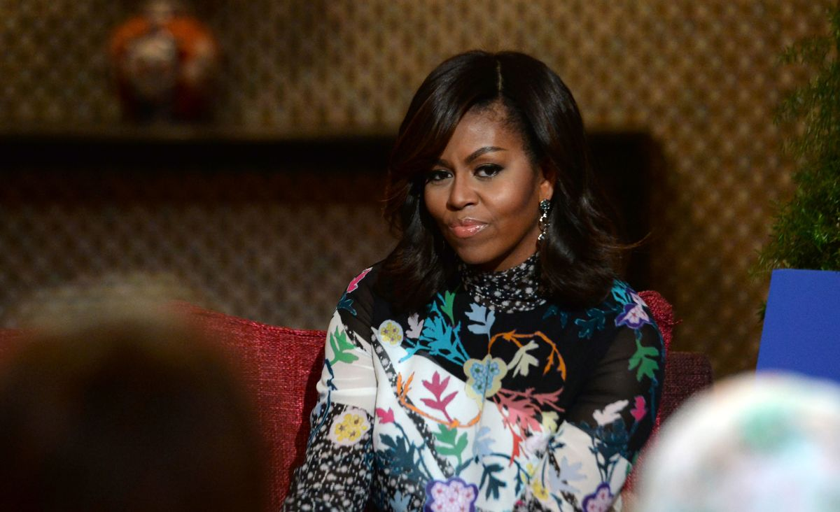 """Michelle Obama in Peter Pilotto at the """"Let Girls Learn"""" program in Marrakesh, Morocco on Tuesday. Photo: Fadel Senna/AFP/Getty Images"""