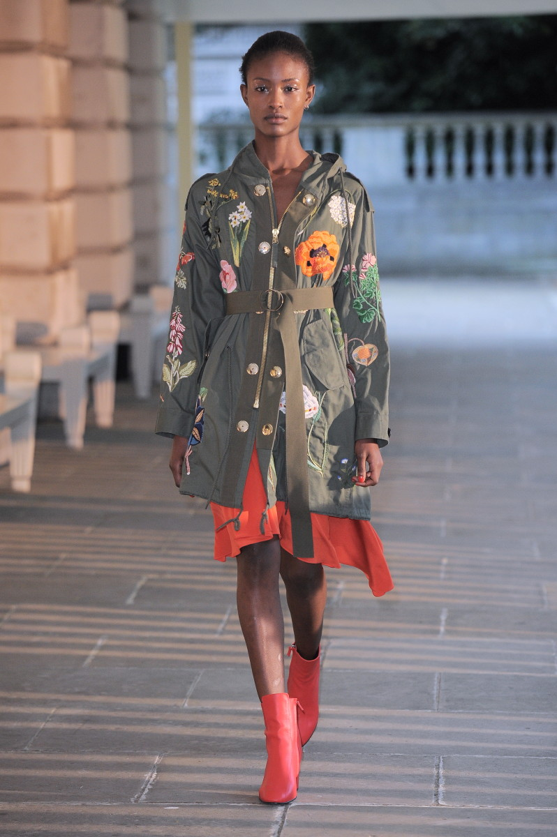 Hand-embroidered army parkas were available for purchase on Farfetch the same day as the show. Photo: Creatures of the Wind