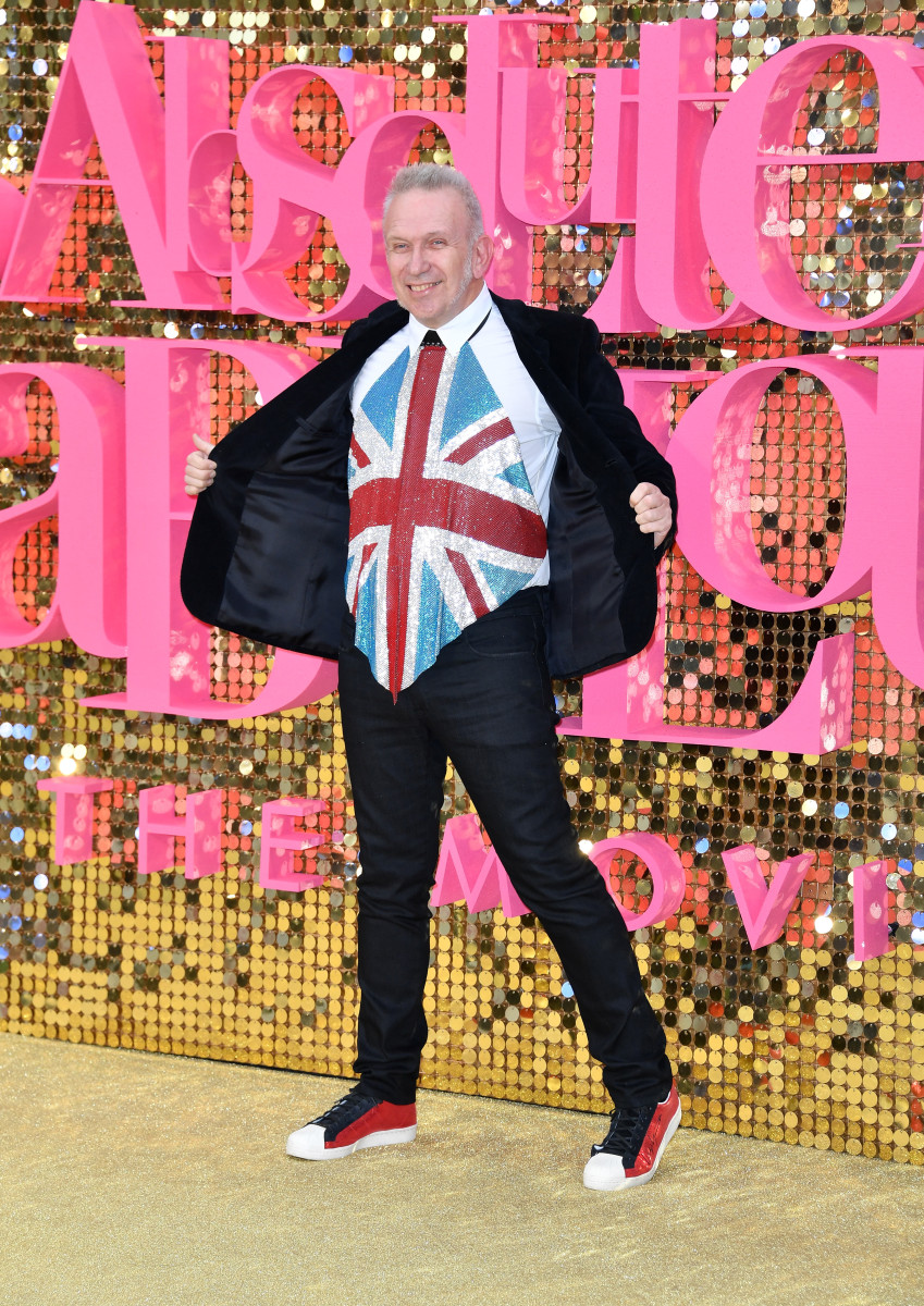 Jean Paul Gaultier and the Union Jack. Photo: Gareth Cattermole/Getty Images