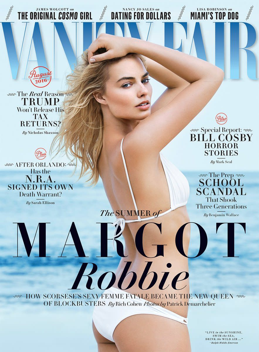 Margot Robbie on the August 2016 cover of Vanity Fair. Photo: Patrick Demarchelier