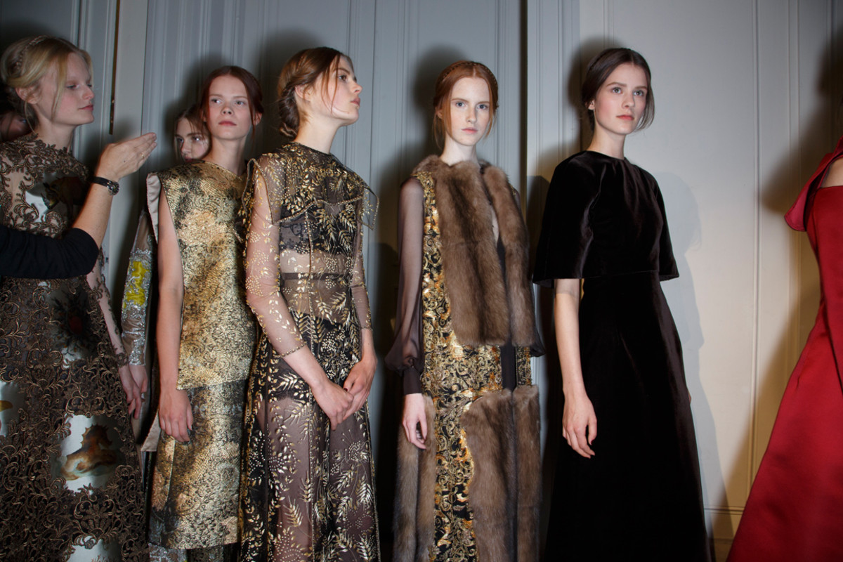 Backstage at Valentino's fall 2013 couture presentation. Photo: Imaxtree
