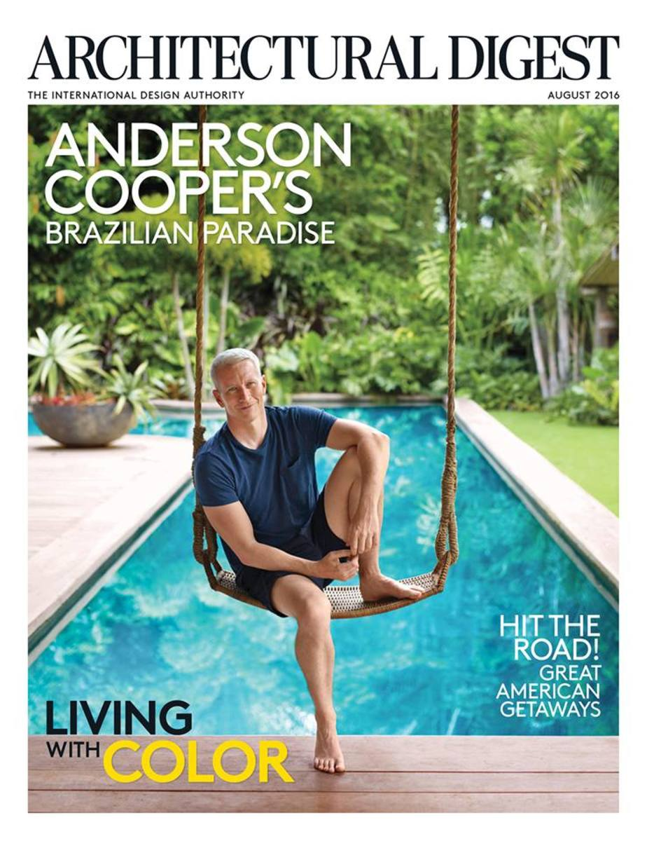 "Anderson Cooper on the ""Architectural Digest"" August 2016 cover. Photo: Architectural Digest"