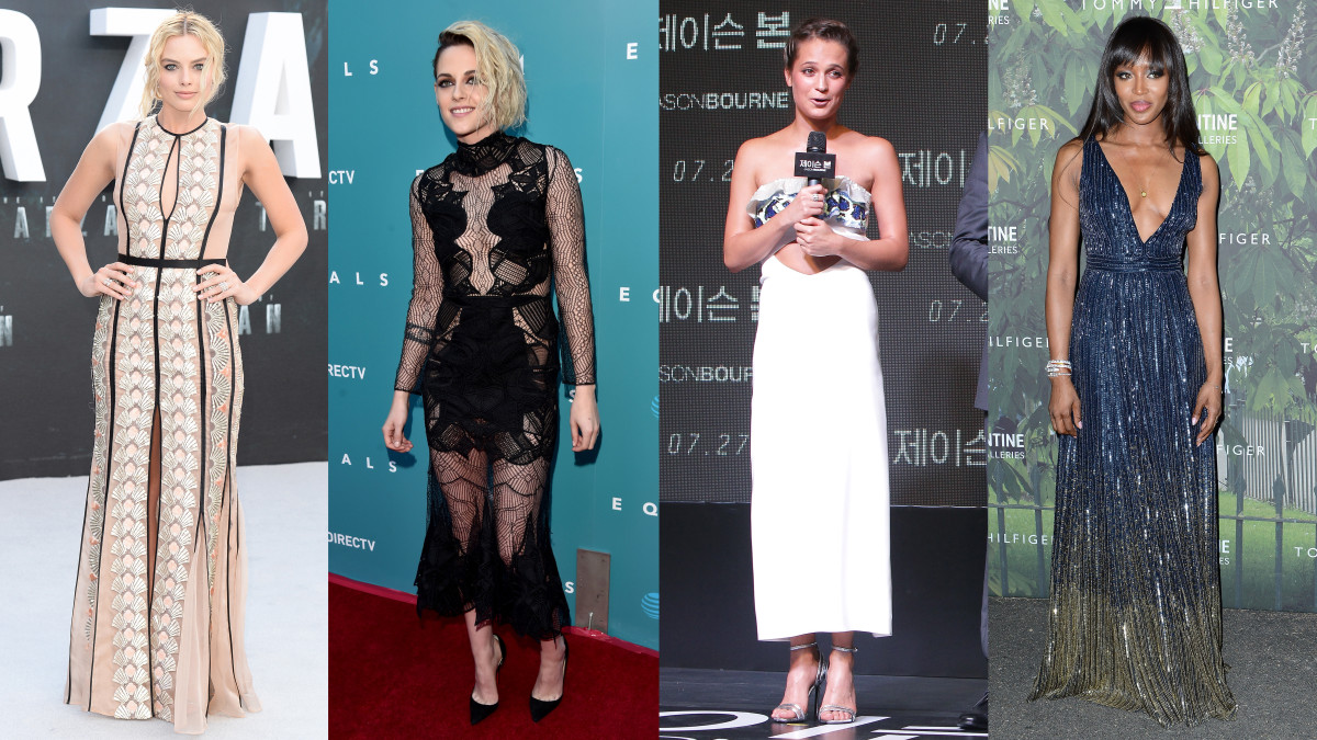 Margot Robbie in Miu Miu, Kristen Stewart in Jonathan Simkhai, Alicia Vikander in Louis Vuitton and Naomi Campbell in Tommy Hilfiger. Photo credits: see gallery
