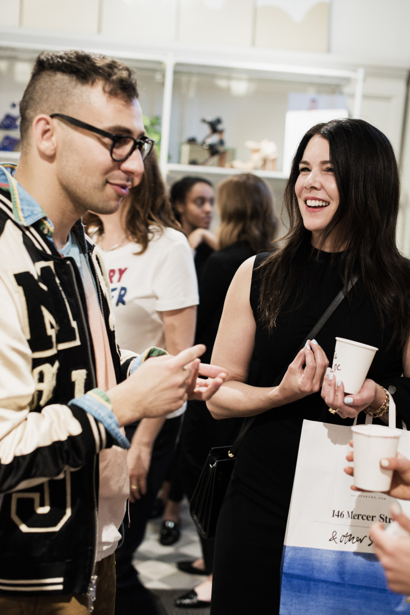 Jack Antonoff and Lorelai Gilmore sharing a moment at the Rachel Antonoff x & Other Stories Launch. Photo: & Other Stories
