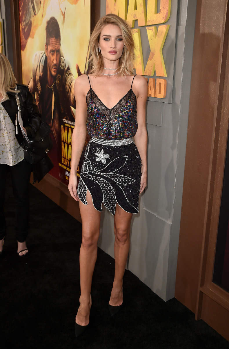 "Rosie Huntington-Whiteley in Rodarte at the ""Mad Max"" premiere. Photo: Frazer Harrison/Getty Images"