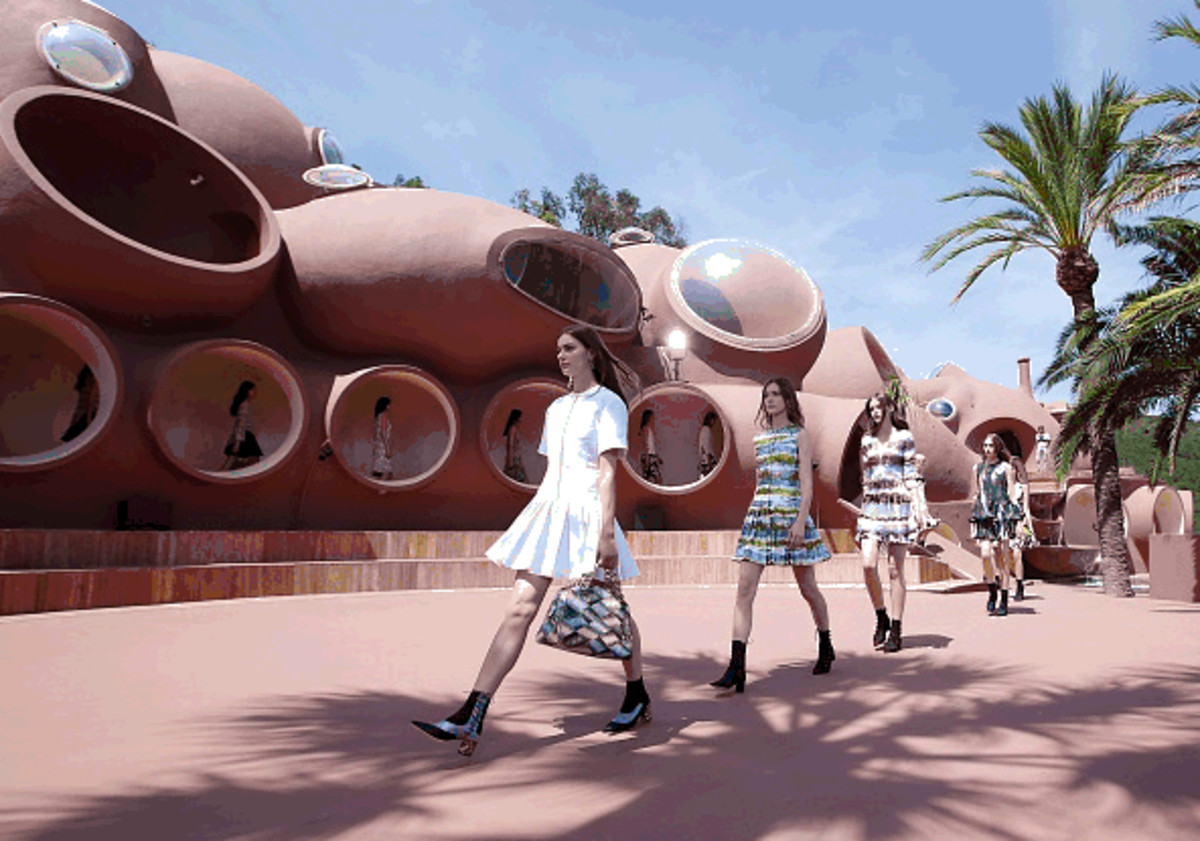 Models walking the grounds of the so-called Bubble Palace. Photo: Dior