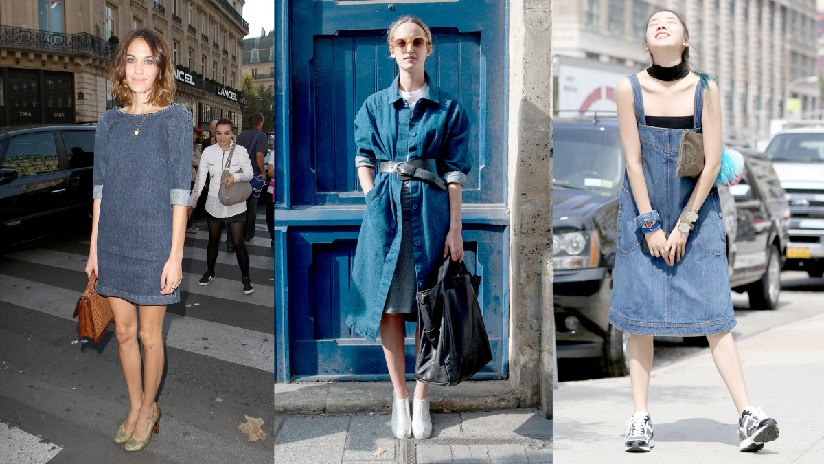 Three easy ways to wear denim dresses. Photos: Marc Piasecki/WireImage and Imaxtree