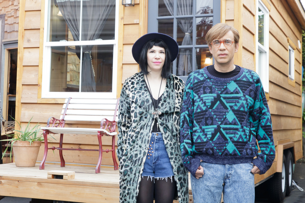 Carrie Brownstein and Fred Armisen showing off Amanda Needham's costume design work on 'Portlandia.' Photo: Augusta Quirk/IFC