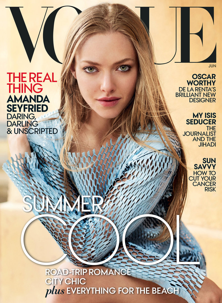"Actress Amanda Seyfried on the June 2015 cover of ""Vogue."" Photo: Vogue"