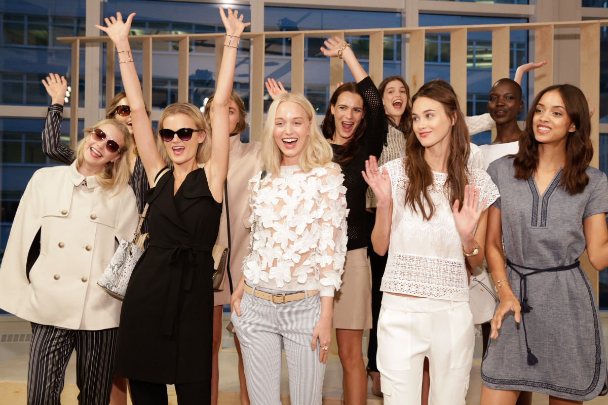 Models at the Ann Taylor spring 2015 presentation. Photo: JP Yim/Getty Images