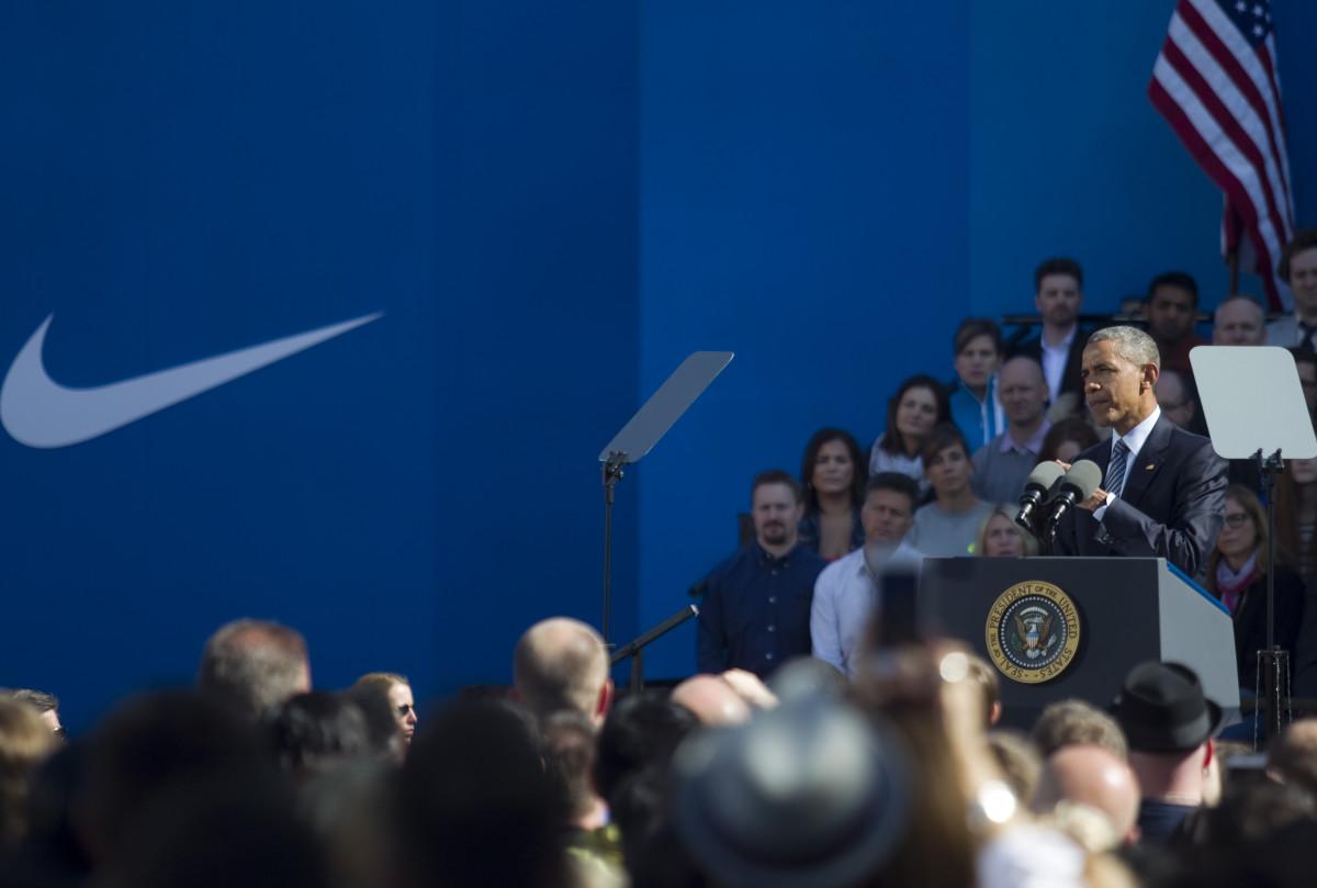President Obama at Nike headquarters on May 8. Photo:Natalie Behring/Stringer