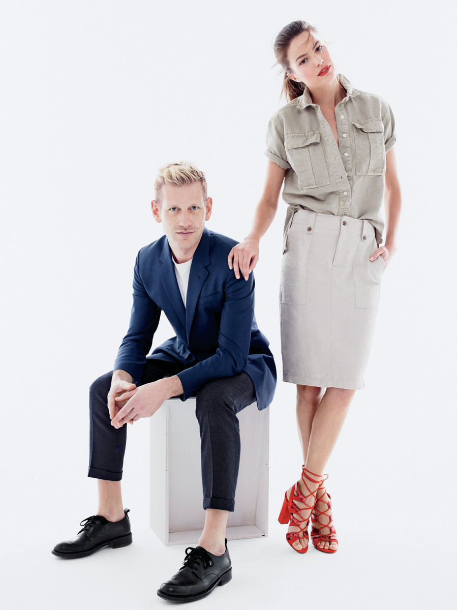 Paul Andrew with a model wearing one of his shoe designs. Photo: J.Crew